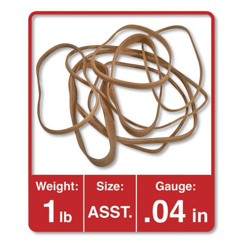 Rubber Bands, Size 54 (Assorted), Assorted Gauges, Beige, 1 lb Box