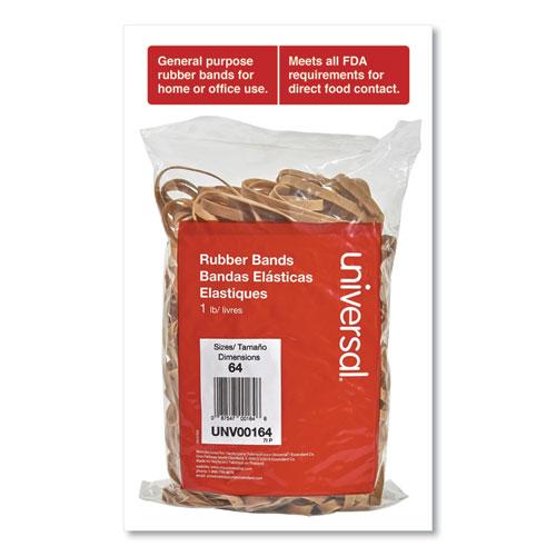 Rubber Bands, Size 64, 0.04 Gauge, Beige, 1 lb Bag, 320/Pack