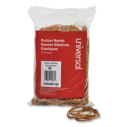 Rubber Bands, Size 33, 0.04 Gauge, Beige, 1 lb Box, 640/Pack