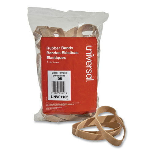 Rubber Bands, Size 105, 0.06 Gauge, Beige, 1 lb Box, 55/Pack