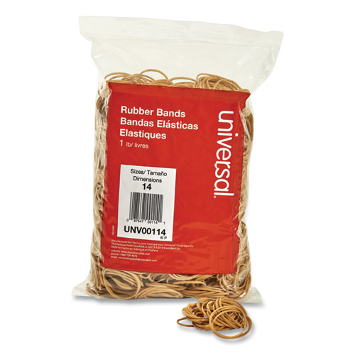 Rubber Bands, Size 14, 0.04 Gauge, Beige, 1 lb Box, 2,200/Pack