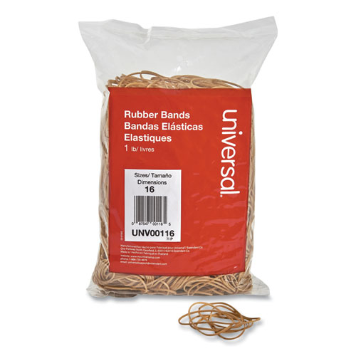Rubber Bands, Size 16, 0.04 Gauge, Beige, 1 lb Box, 1,900/Pack