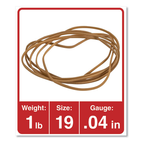 Rubber Bands, Size 19, 0.04 Gauge, Beige, 1 lb Bag, 1,240/Pack