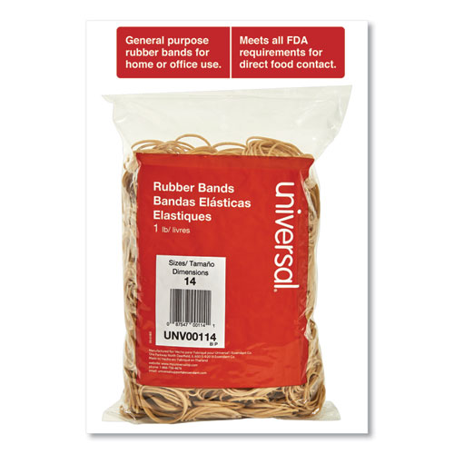 Rubber Bands, Size 14, 0.04 Gauge, Beige, 1 lb Box, 2,200/Pack