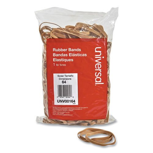 Rubber Bands, Size 64, 0.04 Gauge, Beige, 1 lb Bag, 320/Pack