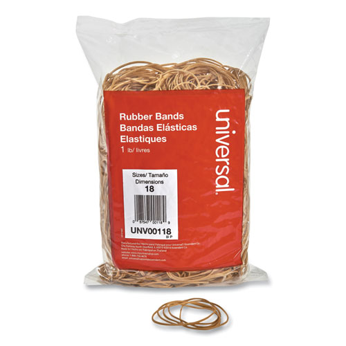 Rubber Bands, Size 18, 0.04 Gauge, Beige, 1 lb Box, 1,600/Pack