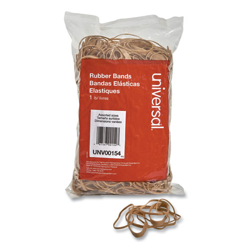 Rubber Bands, Size 54 (Assorted), Assorted Gauges, Beige, 1 lb Box
