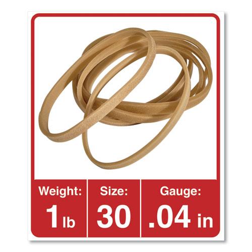Rubber Bands, Size 30, 0.04 Gauge, Beige, 1 lb Box, 1,100/Pack