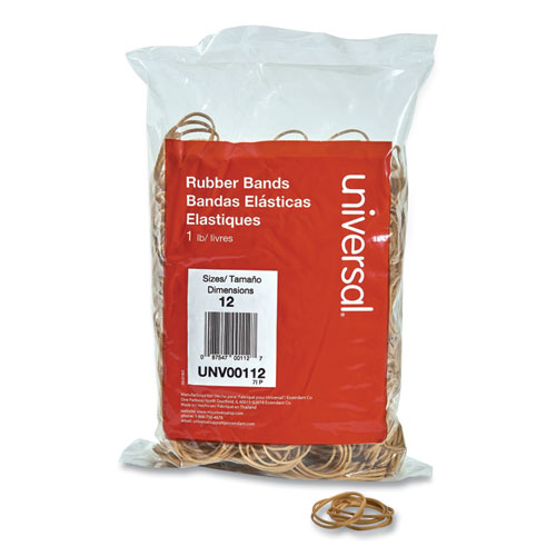 Rubber Bands, Size 12, 0.04 Gauge, Beige, 1 lb Box, 2,500/Pack