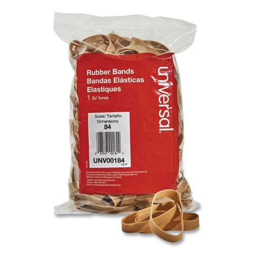 Rubber Bands, Size 84, 0.04 Gauge, Beige, 1 lb Box, 155/Pack