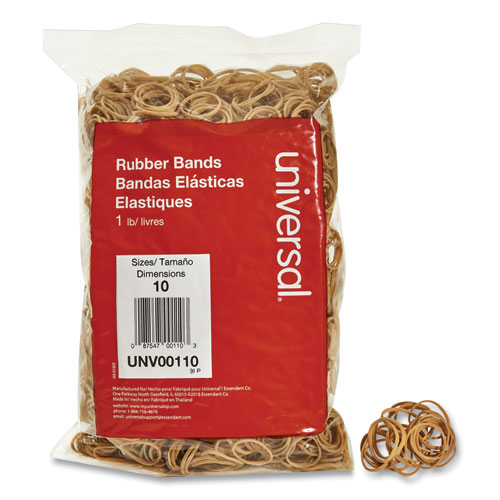 Rubber Bands, Size 10, 0.04 Gauge, Beige, 1 lb Box, 3,400/Pack