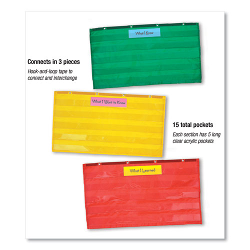 Adjustable Tri-Section Pocket Chart with 18 Color Cards, Guide, 33.75 x 55.5