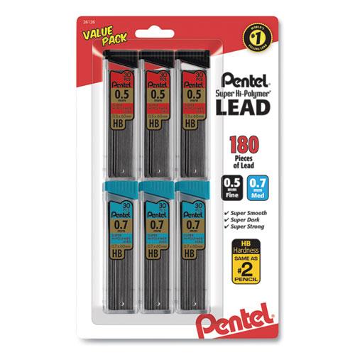 Super Hi-Polymer Lead Refill Value Pack, 0.5 mm 0.7 mm, HB, Black, 30/Tube, 6 Tubes/Pack