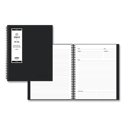 Aligned Business Notebook, Narrow Rule, Black Cover, 11 x 8.5, 156 Sheets
