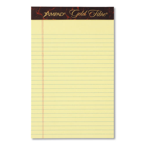 Ruled Writing Pad, Wide/Legal Rule, 5 x 8, Canary, 50 Sheets, Dozen