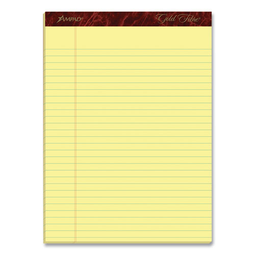Ruled Writing Pad, Wide/Legal Rule, 8.5 x 11.75, Canary, 50 Sheets, Dozen