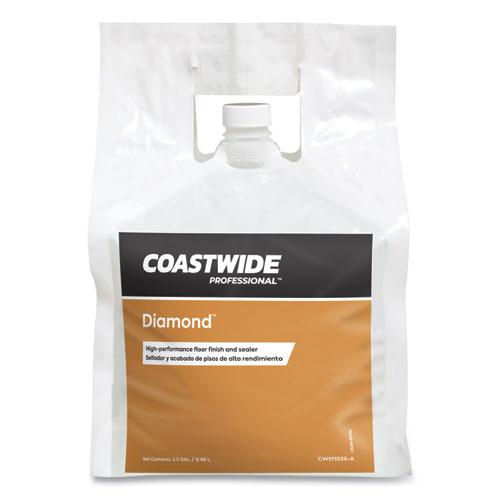 Diamond High-Performance Floor Finish, Unscented, 2.5 gal Bag, 2/Carton
