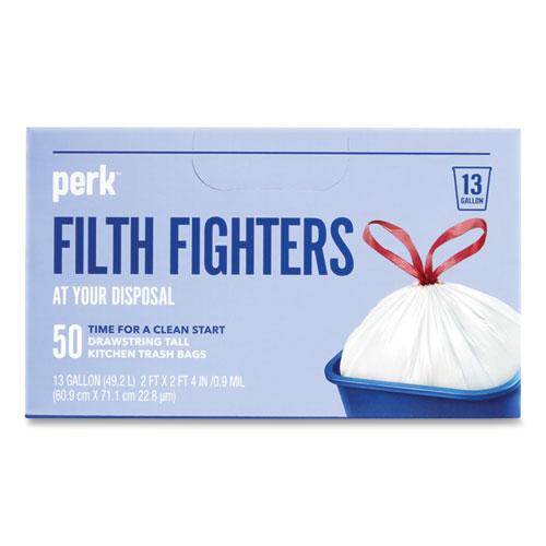 "Perk™ Drawstring Tall Kitchen Trash Bags, 13 gal, 0.9 mil, 28"" x 24"", White, 50/Box"