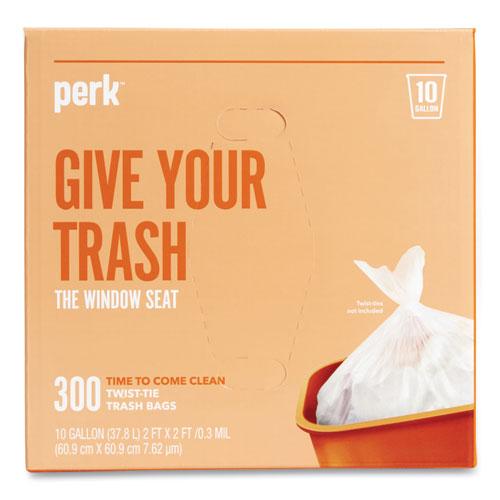 """Perk™ Twist-Tie Light-Duty Can Liners, 10 gal, 0.36 mil, 24"""" x 24"""", Clear, 300/Box"""