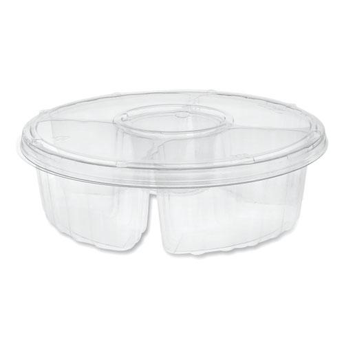 "Dip Cup Platter, 4-Compartment, 64 oz, 10"" Diameter, Clear, 100/Carton"
