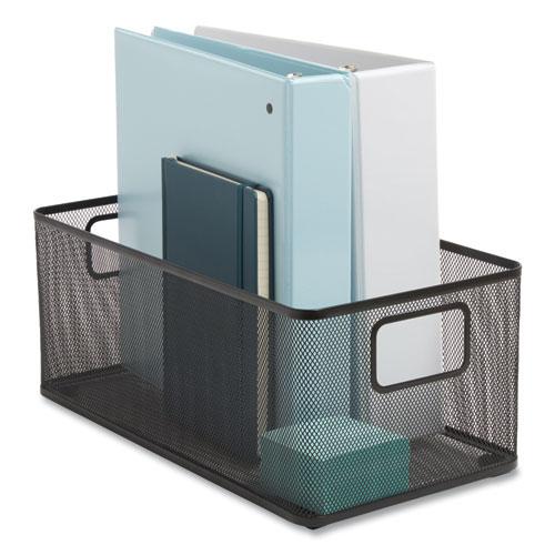 "Wire Mesh Storage Box, 8.58"" x 15.75"" x 6.69"", Black"