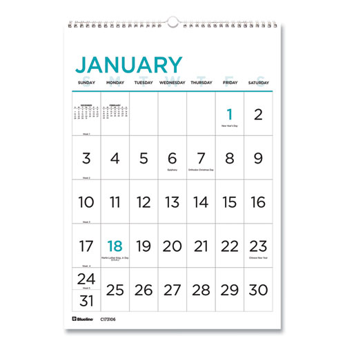 12-Month Large Print Wall Calendar, 12 x 17, White/Blue, 2021