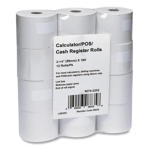 Impact Bond Paper Rolls, 2.25 x 150 ft, White, 12/Pack