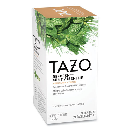 Tea Bags, Refresh Mint, 1 oz, 24/Box