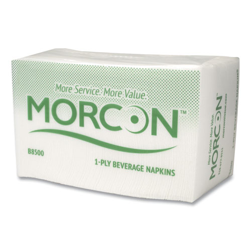 Morsoft Beverage Napkins, 9 x 9/4, White, 500/Pack, 8 Packs/Carton