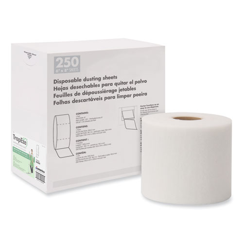 """TrapEze Disposable Dusting Sheets, 8"""" x 125 ft, White, 250 Sheets/Roll,"""
