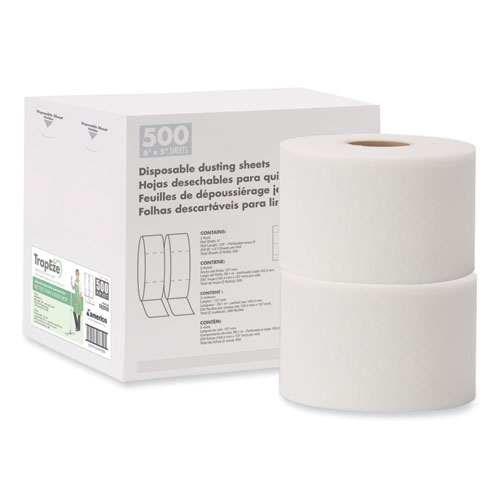 """TrapEze Disposable Dusting Sheets, 5"""" x 125 ft, White, 250 Sheets/Roll, 2 Rolls/Carton"""