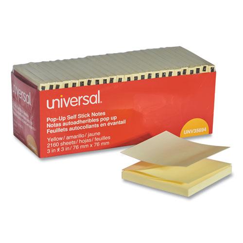 Fan-Folded Self-Stick Pop-Up Note Pads, 3 x 3, Yellow, 90-Sheet, 24/Pack