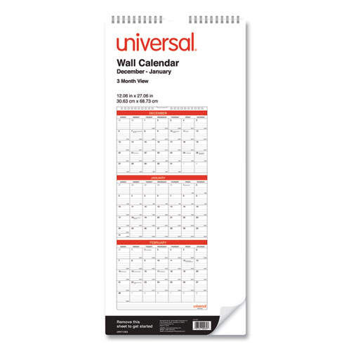 3-Month Wall Calender, White/Black/Red, 12 x 27, 2021