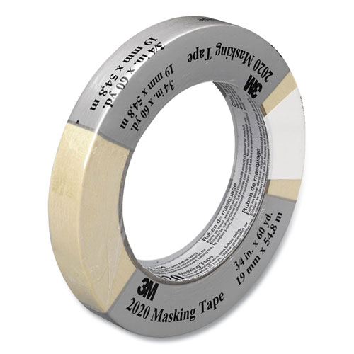 """Scotch® Commercial-Grade Masking Tape for Production Painting, 3"""" Core, 0.7"""" x 60 yds, Natural"""
