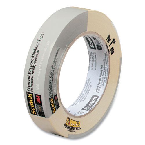 """Scotch® Commercial-Grade Masking Tape for Production Painting, 3"""" Core, 0.94"""" x 60 yds, Natural"""