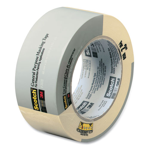 """Scotch® Commercial-Grade Masking Tape for Production Painting, 3"""" Core, 1.88"""" x 60 yds, Natural"""