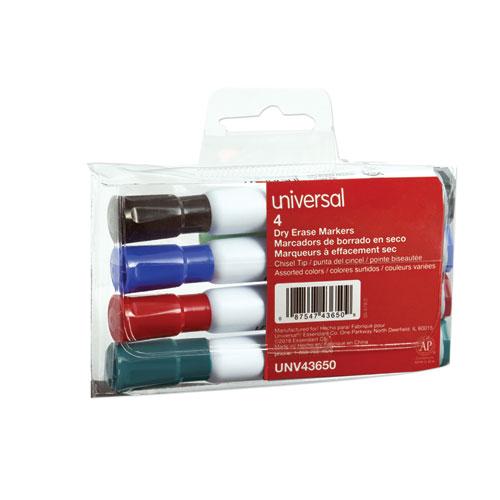 Dry Erase Marker, Broad Chisel Tip, Assorted Colors, 4/Set