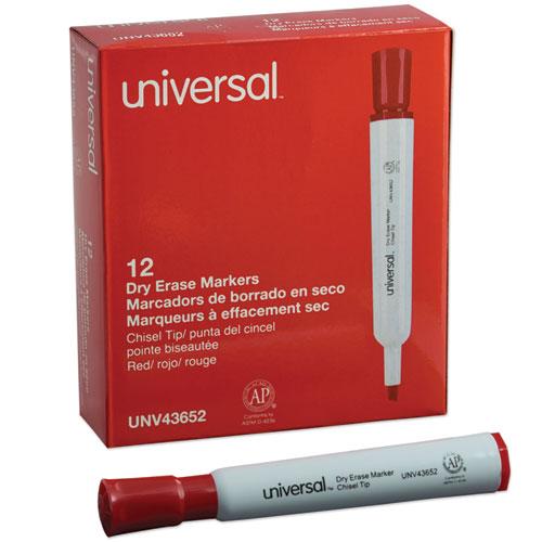 Dry Erase Marker, Broad Chisel Tip, Red, Dozen