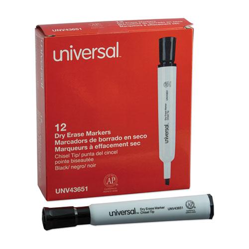 Dry Erase Marker, Broad Chisel Tip, Black, Dozen