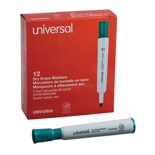 Dry Erase Marker, Broad Chisel Tip, Green, Dozen