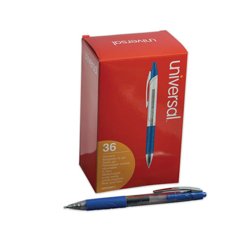 Comfort Grip Retractable Gel Pen, 0.7mm, Blue Ink, Clear/Blue Barrel, 36/Pack