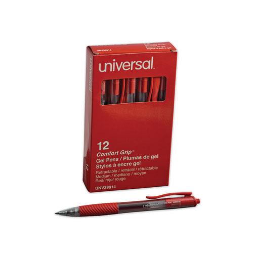 Comfort Grip Retractable Gel Pen, 0.7mm, Red Ink, Translucent Red Barrel, Dozen