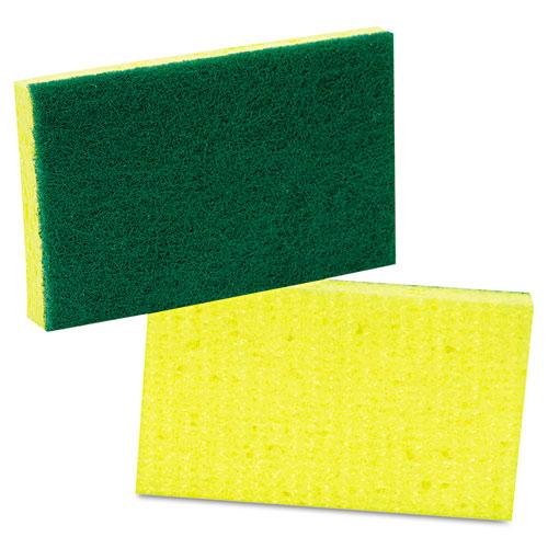 Medium-Duty Scrubbing Sponge, 3.6 x 6.1, Yellow/Green, 20/Carton