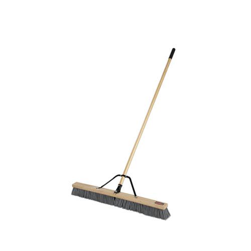 Push Brooms, 36 Brush, PP Bristles, For Rough Floor Surfaces, 62 Wood Handle, Natural