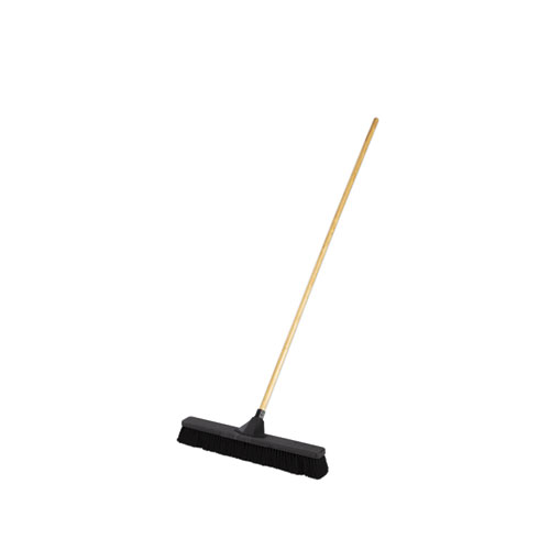 Push Brooms, 24 Brush, Tampico Bristles, For Fine Debris, 62 Wood Handle, Black