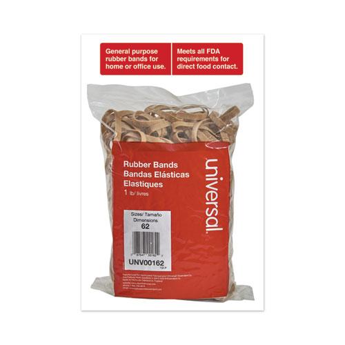 Rubber Bands, Size 62, 0.04 Gauge, Beige, 1 lb Box, 490/Pack