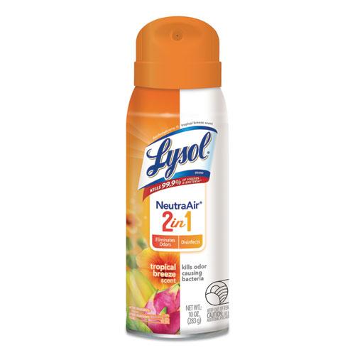 2 in 1 Disinfectant Spray, Tropical Breeze Scent, 10 oz Aerosol, 4/Carton