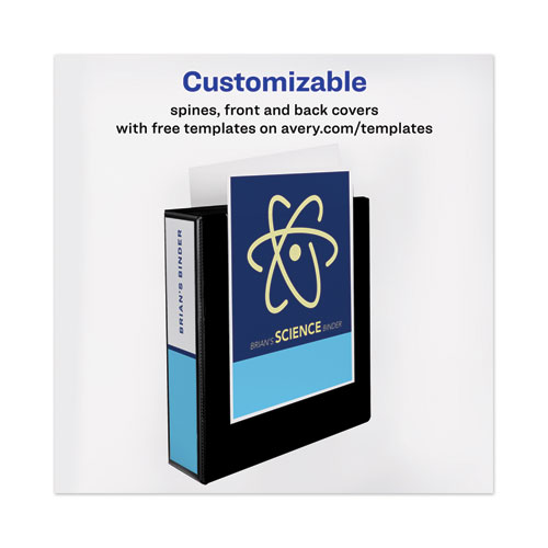 """Heavy-Duty View Binder with DuraHinge and One Touch EZD Rings, 3 Rings, 2"""" Capacity, 11 x 8.5, Black"""