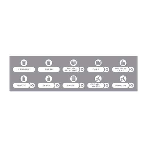 Recycle Label Kit, 10 Assorted Messages, 5.59 x 9.55, White/Clear, Kit