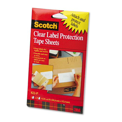 """ScotchPad Label Protection Tape Sheets, 4"""" x 6"""", Clear, 25/Pad, 2 Pads/Pack 
